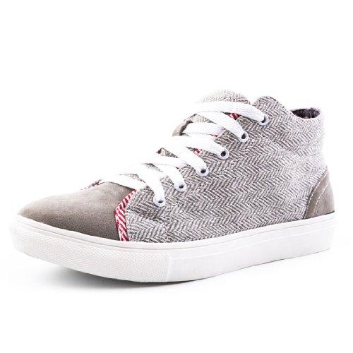 Herren Turnschuhe Sneaker Textil Muster Grau