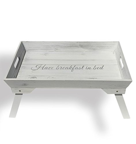 The Hamptons Have Breakfast in Bed Tray, White Wood, Folding Legs, 19 x 12 ½ x 9 ½ Inches, By Whole House Worlds