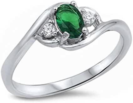 Oval Simulated Green Emerald & Cubic Zirconia .925 Sterling Silver Ring Sizes 5-10