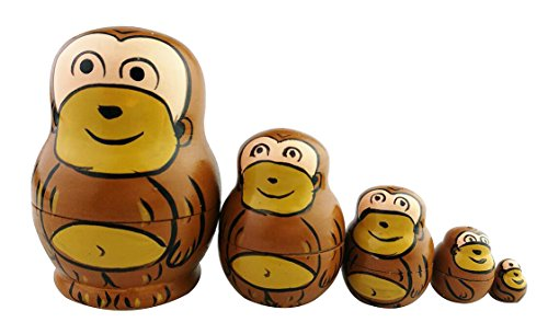 Cute Lovely Mini Animal Theme Brown Monkey Handmade Wooden Russian Nesting Dolls Matryoshka Dolls Set 5 Pieces For Kids Toy Birthday Christmas Gift Ho…