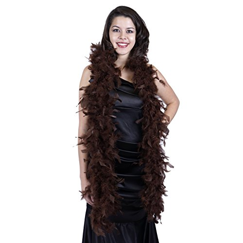 ZUCKER Medium Weight Chandelle Feather boa Solid Colors - Brown
