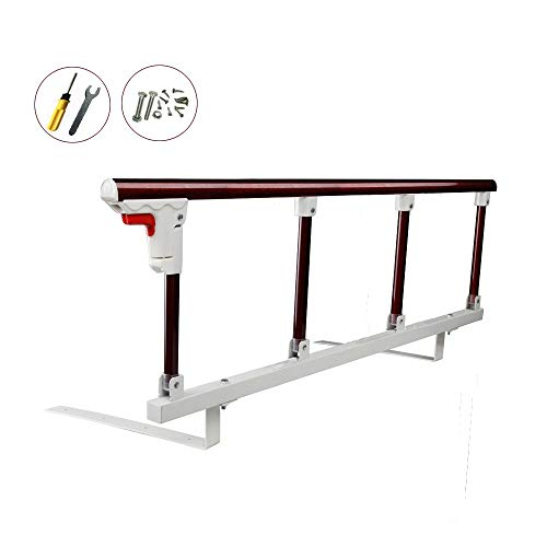 Bed Safety Rails for Adults Elderly Kids Seniors Guard Folding Bed Assist Handle Railing Bumper bar (1pcs,Dark red)