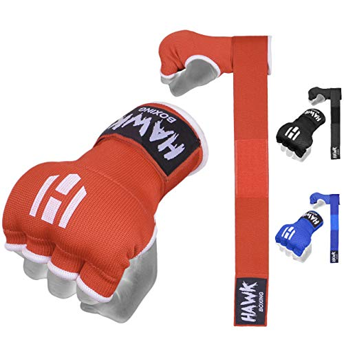 Hawk Padded Inner Gloves Training Gel Elastic Hand Wraps for Boxing Gloves Quick Wraps Men & Women Kickboxing Muay Thai MMA Bandages Fist Knuckle Wrist Wrap Protector Handwraps (Pair) (Red, S/M)