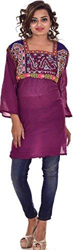 Indian-Rayon-Cotton-Embroidered-Magenta-Color-Vintage-material-Top-Kurta-Women-Ethnic-Tunic-Kurti-plus-size