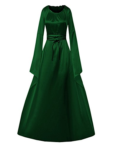 Lynwitkui Womens Deluxe Medieval Dress Renaissance Cosplay Costumes Lace Up Victorian Gown Long - Dress Cosplay Green
