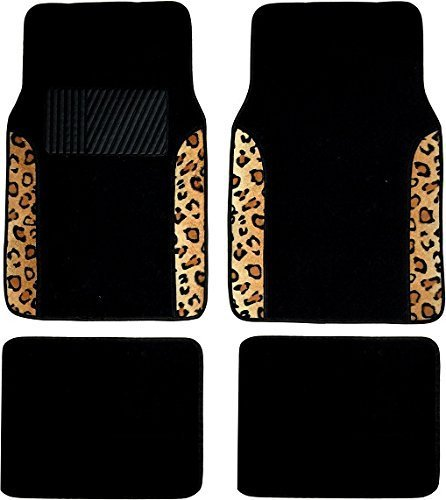 Two Tone 4 Piece Animal Print Floor Mats (Black and Brown Leopard