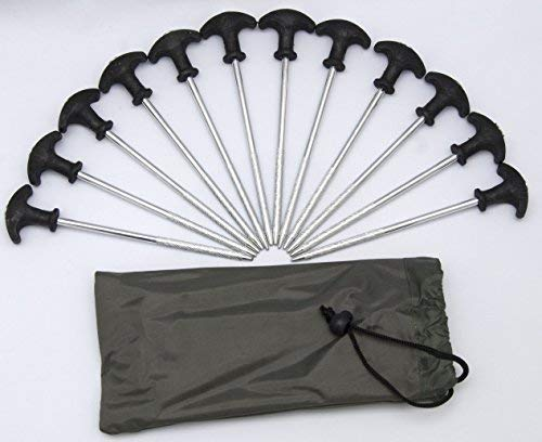 12 x New Heavy Duty Bivvy Tent Pegs For Carp Fishing And Camping With Carry Bag