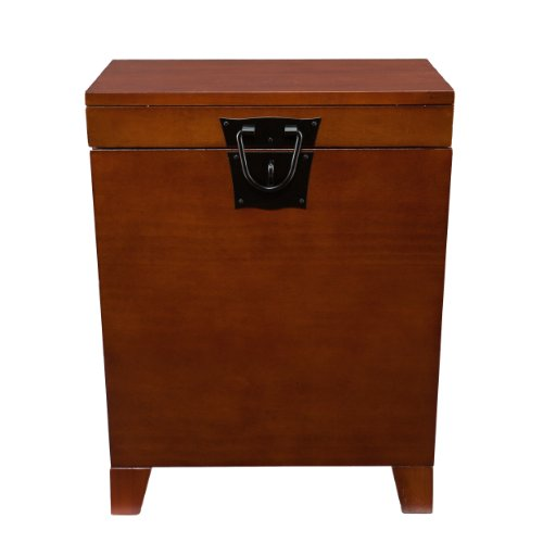Southern Enterprises Pyramid Storage Trunk End Table, Mission Oak Finish