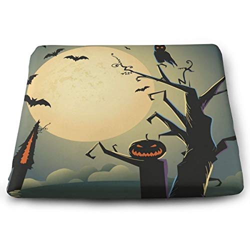 Pamdart Halloween Background Vector Image Owl Personalized Square Seat Cushion Memory Cotton Zipper Detachable for Dining Table Patio Chair]()