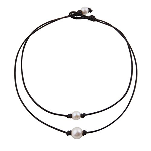 White Knotted Leather (WUSUANED White Freshwater Pearl Knotted Choker Necklace with Genuine Leather Cord for Women (Double layers necklace B))
