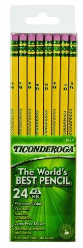 Dixon Ticonderoga Wood-Cased #2 HB Pencils, Six 24-Count Hang-Tab Boxes, Total 144 Pencils, Yellow (13924)