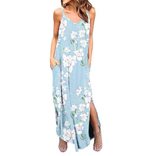 Women's Spaghetti Strap Dress - Bohemia Floral Print Maxi Dresses Side Split Casual Loose Midi Dress with Pocket Light -