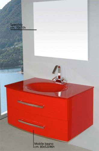 Lavabi Cristallo Per Bagno.Mobile Arredo Bagno Da 80 Cm Sospeso Con Lavabo In Cristallo Nero