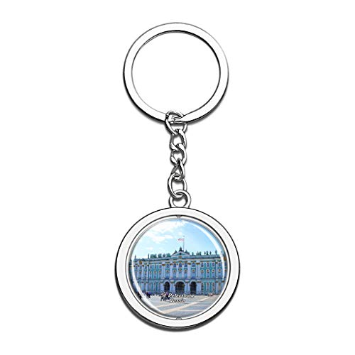 Hqiyaols Keychain Russia The State Hermitage Museum St. Petersburg Souvenirs Crystal Spinning Round Stainless Steel Key Chain Ring Travel City Gifts Metal (Tag Petersburg St Office)