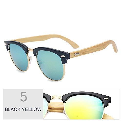 Black Gafas Elegante Hombre Exterior Sol Retro De Unisex Frío Gafas Azul De Gold Negro Gafas Plaza Tac Gafas Madera Mujer TIANLIANG04 Lentes xqgR8TnOzw