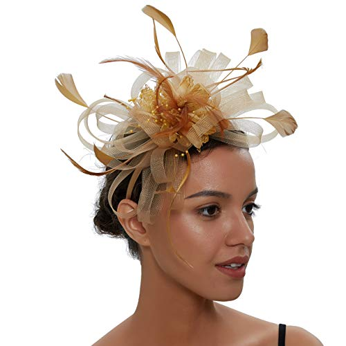 Sinamay Vintage Women Fascinators Derby Hat Feather with Headband Cocktail Headpiece for Tea Party Wedding (One Size, Champagne Style 2) -