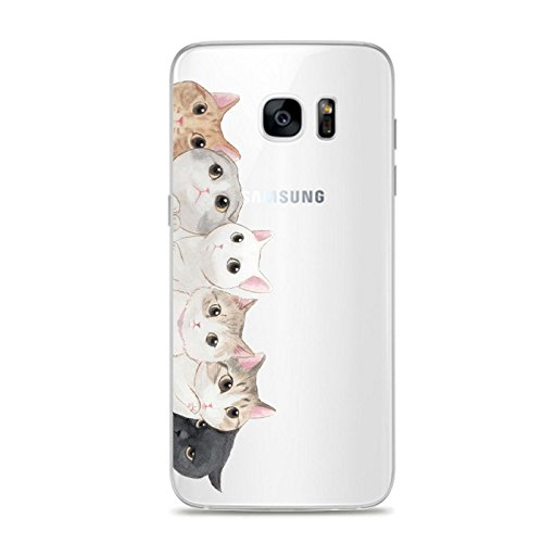 Samsung Galaxy S7 Edge Case,Lovely Cute Animal Pattern on Soft TPU Silicone Protective Skin Ultra Slim & Clear with Unique Design Gift Cover for Galaxy S7 Edge,kitten cat what's up?