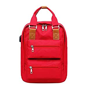 JpOTSUT Women Laptop Backpack Stylish Computer Backpack School Backpack Casual Daypack Laptop Bag Water Repellent Nylon Business Bag The North face Backpack (Color : Red)