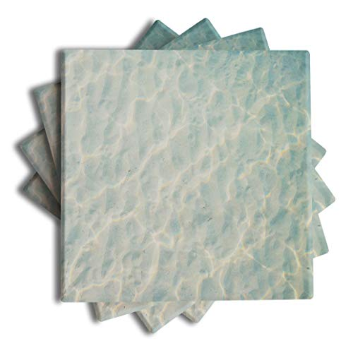 Coastal – Nautical – Beach – Ocean – Palm Tree - Themed Absorbent Ceramic Drink Coasters set of ()