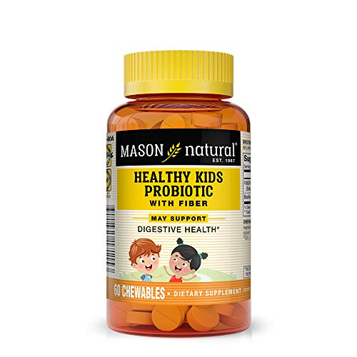 Mason Natural, Healthy Kids Probiotic with Fiber Immune and Digestive Support, Chewable Tablets, 60 Count, Children's Dietary Supplement Supports Healthy Digestion
