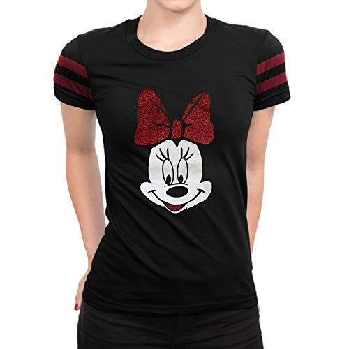 Girls Minnie Mouse Red Bow Shirt - Adult Minnie Glitter Bow Tie Black Shirt for Women -