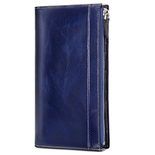 Wallet Blue Womens (S-ZONE Women's Genuine Leather Trifold Wallet Card Organizer Ladies Clutch Travel Purse (Blue))