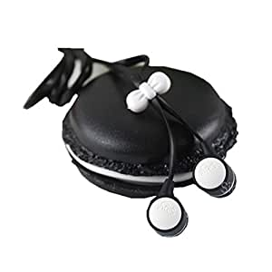 Zerowin Cute 3.5mm in Ear Earphones Earbuds Headset with Macaron Earphone Organizer Box Case for Iphone,for Samsung,for Mp3 Ipod Pc Music (Black)