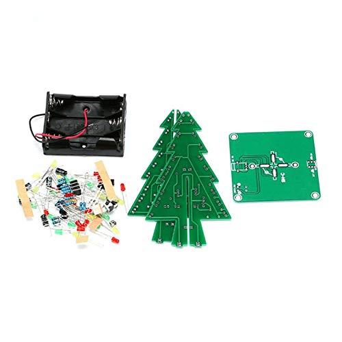 Pudincoco 3D Árbol de Navidad LED Kit de Bricolaje Rojo/Verde/Amarillo Partes del Circuito electrónico Materiales...