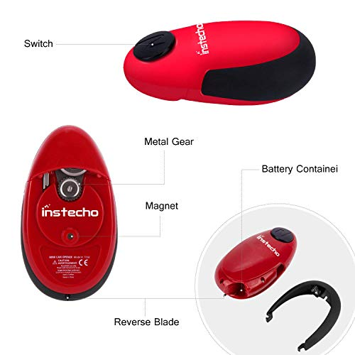 Electric Can Opener, Cakie Restaurant Can Opener Smooth Soft Edge One-touch Battery Automatic Electric Hands-free Can Opener For Kitchen Arthritis Elderly Travel and Chef's Best Choice's (Red) by instecho (Image #4)