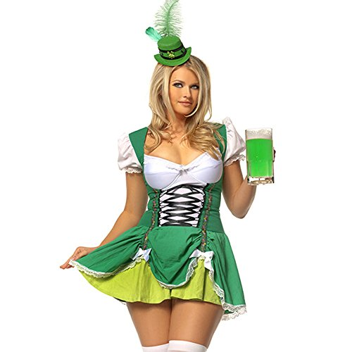 Plus Size Hollywood Fancy Dress Costumes (Mystery House Plus-Size Lucky Irish Lass, Green, 1X)