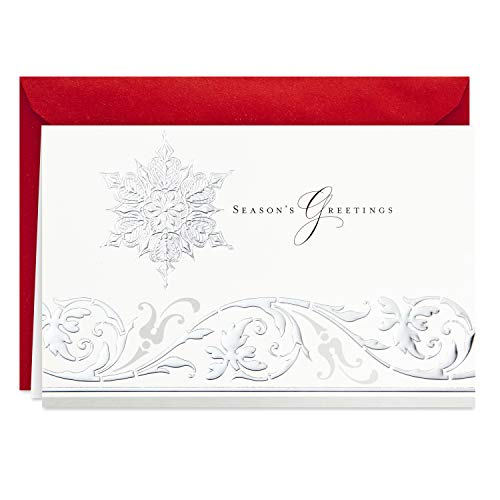 Hallmark Boxed Holiday Cards (Season's Greetings Snowflake, 40 Holiday Cards with Envelopes) (Best Business Christmas Cards)