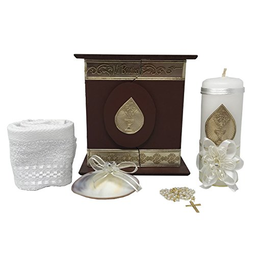 Premium Catholic Baptism Kit in a Wooden Box with Towel, Candle, Rosary and Shell for Baby Boys and Girls. Handmade in Mexico Gift for Godparents. Holy Spirit Baptism Candle Set. Kit de Bautizo.