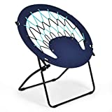 Giantex Folding Bunjo Bungee Chair Outdoor Camping Gaming Hiking Garden Patio Round Web Portable Steel Bungee Dish Chairs for Adults Kids, Blue