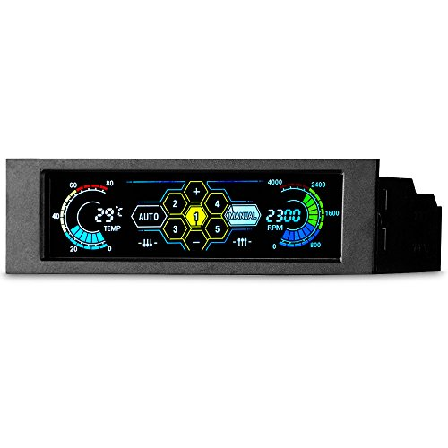 STW Touch Screen 5.25 inch 5 Way Fans Speed Controller PC Computer Cooling Fan Controller Temperature Controller Front Panel Date Time Temperature Display Drive Bay (Black)