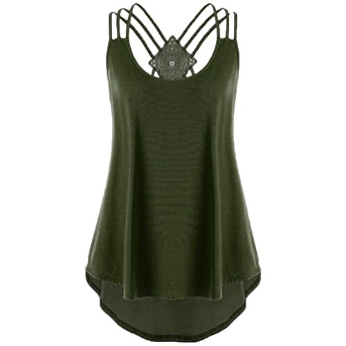 CUCUHAM Ladies' Bandages Sleeveless Vest Top High Low Notes Strappy Tank Tops (L, Army Green)