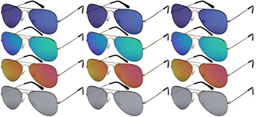 Edge I-Wear 12-Pack Wholesale Classic Aviators Sunglasses Flat Mirrored Lens (Adult Aviator)