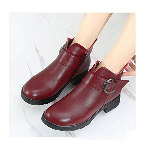 Winter Fashionable Versatile Winter High Shoes And Heeled Girl Fall Shoes Women The Heavy Boots With 3Cm Boots Red KHSKX Shoes In 38 08xPXR