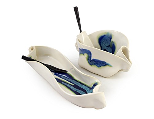 Aurora Collection 2-Piece Handmade Pottery Hors d'oeuvre Appetizer Serving Dish Set in Blue White by Hilborn Pottery (Image #3)