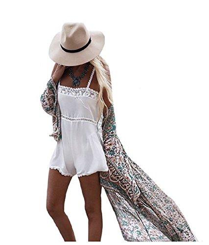 Women's Chiffon Polka Dot Kimono Cardigan Long Blouses Bikini Covers Up/Beach Dress