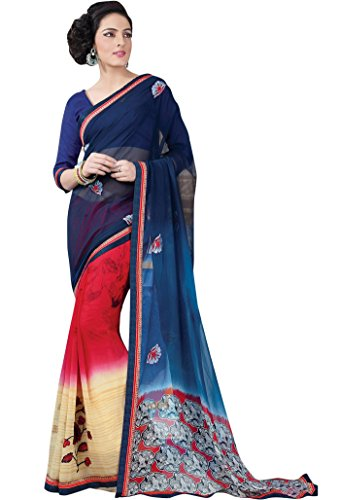 [Indian Ethnic Bollywood Floral Georgette Sari Indian Costume Latest Fashion Sari Gift] (Bollywood Costume Party)