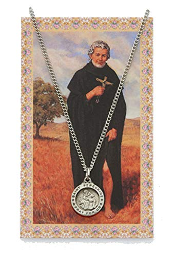 - Adult Pewter Round St. Peregrine Medal Necklace, 18