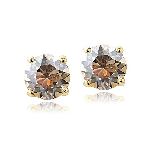 Golden Swarovski Ring (Bria Lou Gold Flashed Golden Shadow November Birthstone Color Round Stud Earrings Made with Swarovski Crystals (6mm))