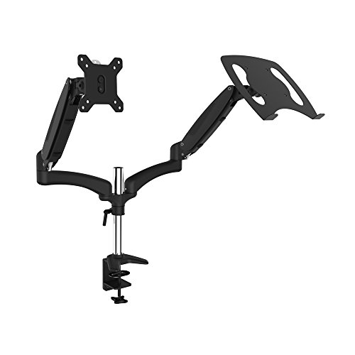 OLLO: Twin Pole Mounted Gas Spring Monitor Mount with Laptop tray, Snap-on quick Head, +90º/-85º Tilt, 180º Rotation, 0-18 Lbs. Each Arm, Black, Fits Most 15-27' (DP-2XL)