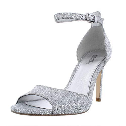 Michael Michael Kors Womens Shelly Glitter Dress Sandals Silver 6 Medium (B,M)