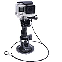 Smatree Suction Cup Mount + Stainless Steel Tether Lanyard for GoPro Hero 5/4/3+/3/2/1/Session