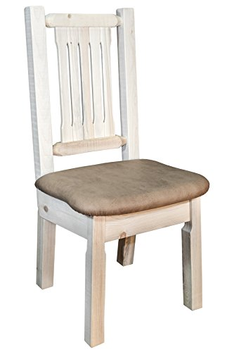 (Montana Woodworks MWHCKSCNVBUCK Homestead Collection Dining Side Chair, Clear Lacquer Finish with Upholstered Seat, Buckskin Pattern)