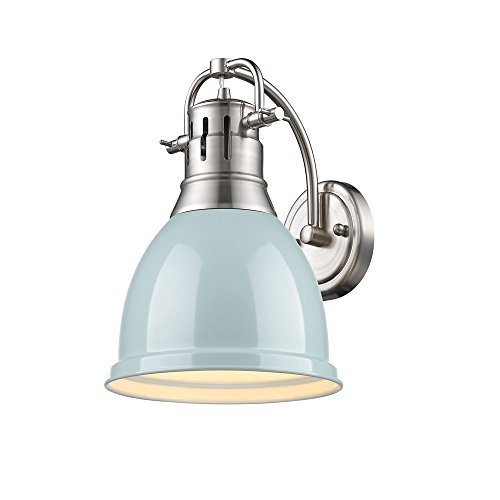 Golden Lighting Duncan 1 Light Wall Sconce in Pewter w/A Seafoam Shade
