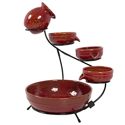 LTL Shop Red Standing Ceramic Solar Water Fountain - In Indio Outlets Ca