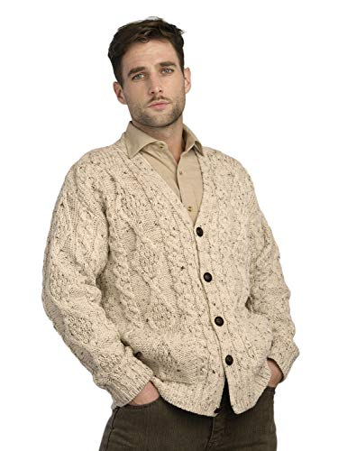100% Irish Merino Fleck Wool V-Neck Button Aran Sweater by West End Knitwear, XL, Fleck by The Irish Store - Irish Gifts from Ireland