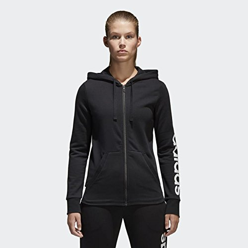 adidas Women's Essentials Linear Full Zip Fleece Hoodie, Black/White, Small by adidas